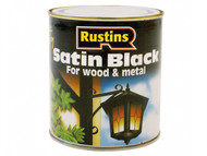 Rustins RUSBS1L - Satin Black Paint Quick Drying 1 Litre