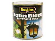 Rustins RUSBS250 - Satin Black Paint Quick Drying 250ml