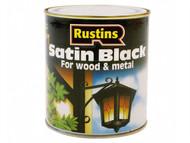 Rustins RUSBS500 - Satin Black Paint Quick Drying 500ml