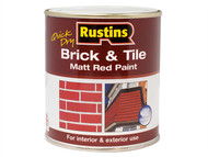 Rustins RUSBTPMR250Q - Quick Dry Brick & Tile Paint Matt Red 250ml