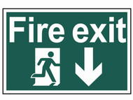 Scan SCA1503 - Fire Exit Running Man Arrow Down - PVC 300 x 200mm