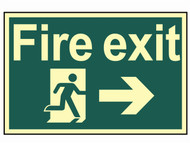 Scan SCA1581 - Fire Exit Running Man Arrow Right - Photoluminescent 300 x 200mm