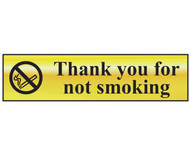 Scan SCA6001 - Thank You For Not Smoking - Polished Brass Effect 200 x 50mm