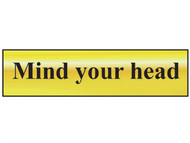 Scan SCA6030 - Mind Your Head - Polished Brass Effect 200 x 50mm