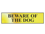 Scan SCA6050 - Beware Of The Dog - Polished Brass Effect 200 x 50mm