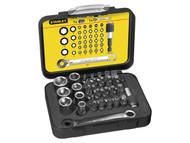 Stanley Tools STA113907 - Bit & Socket Set of 39 + Ratchet End Metric 1/4 Drive