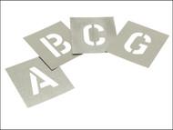 Stencils STNL1W - Set of Zinc Stencils - Letters 1in Walleted