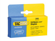 Tacwise TAC0335 - 53 Light-Duty Staples 8mm (Type JT21, A) Pack 2000