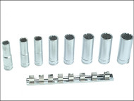 Teng TENM1207 - M1207 Socket Clip Rail Set of 8 Metric 1/2in Drive