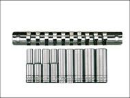 Teng TENM1407 - M1407 Deep Socket Clip Rail Set of 10 Metric 1/4in Drive