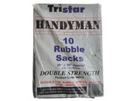 Tristar TRIBS10BK - Heavy-Duty Black Rubble Sacks (10) 20 x 30in