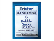 Tristar TRIBS6 - Heavy-Duty Blue Rubble Sacks (6) 21 x 32in
