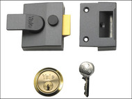 Yale Locks YAL85DMGSC - 85 Deadlocking Nightlatch 40mm Backset DMG Finish Satin Chrome Cylinder Box