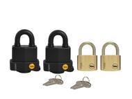 Yale Locks YALMULTIPAD4 - Multi-Purpose Padlock Set of 4 Keyed Alike