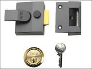 Yale Locks YALP85DMGSC - P85 Deadlocking Nightlatch 40mm Backset DMG Finish Satin Chrome Cylinder Visi