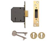 Yale Locks YALPM552PB25 - PM552 5 Lever Mortice Deadlock 67mm 2.5in Polished Brass