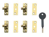Yale Locks YALV8K1184EB - 8K118 Economy Window Lock Electro Brass Finish Pack of 4 Visi