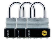 Yale Locks YALY125403PK - Y125 40mm Laminated Steel Padlock (3 Pack)