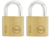 Yale Locks YALYE1302PK - YE1 Brass Padlock 30mm (2 Pack)