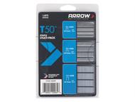 Arrow ARRT50SMP - T50 Staples Multi Pack 6mm, 10mm & 12mm Box 1875 (3 x 625)
