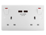 Masterplug MST822U - 2 Gang Switched Socket Outlet + USB Charger 13 Amp
