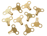 Dickie Dyer DDY11042 - Brass Clock Type Radiator Keys (Pack of 10)