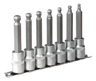 """Sealey AK622 Hex Ball-End Socket Bit Set 7pc 100mm 1/2""""Sq Drive Metric"""