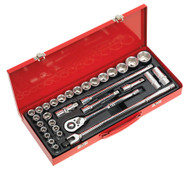 "Sealey AK693 Socket Set 32pc 1/2""Sq Drive 6pt WallDriveå¬ - DuoMetricå¬"