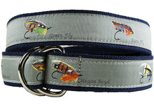 Fly Fishing Ribbon Belt - Megan Boyd Flies (D-Rings)