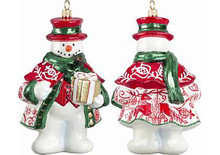 Bratislava Folk Art Snowman Glass Christmas Ornament