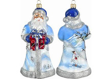 Highlander Skiing Santa Glass Christmas Ornament