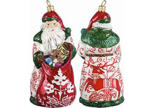 Bratislava Folk Art Santa Glass Christmas Ornament