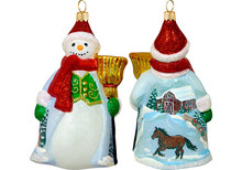 Snowy Barn Scene Snowman Glass Christmas Ornament