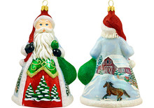 Snowy Barn Scene Santa Glass Christmas Ornament