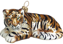 Tiger Glass Christmas Ornament (Orange)
