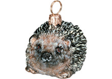 Hedgehog Glass Christmas Ornament