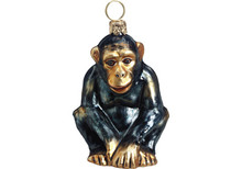 Chimpanzee Glass Christmas Ornament