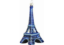 Eiffel Tower at Night Glass Christmas Ornament