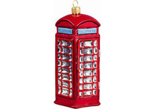 British Phone Booth Glass Christmas Ornament
