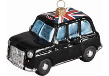 London Taxi Cab Glass Christmas Ornament