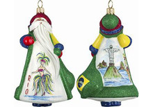 Brazil Santa Glass Christmas Ornament