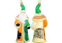 Irish Flag Santa Glass Christmas Ornament