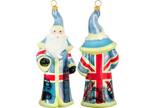 British Flag Santa Glass Christmas Ornament