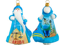 Aruba Santa Glass Christmas Ornament