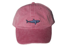 Shark Embroidered Baseball Cap on Poppy