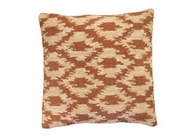 Ikat Hooked Wool Pillow in Camel