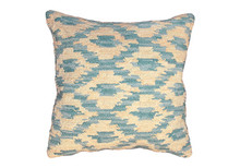 Ikat Hooked Wool Pillow in Peacock