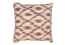 Ikat Hooked Wool Pillow in Cocoa