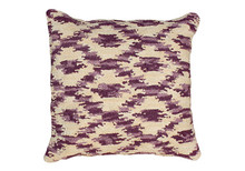 Ikat Hooked Wool Pillow in Prune