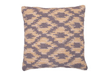 Ikat Hooked Wool Pillow in Sepia